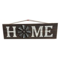 """WOOD WALL DÉCOR  WITH METAL WINDMILL-HOME, 23.5"""""""