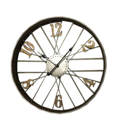 METAL WHEEL CLOCK WALL DECOR