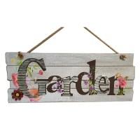 """WOOD WITH METAL LAYER WALL DÉCOR  SAYING GARDEN, 18.25"""""""