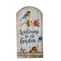 """WOOD BIRD AND FLOWER WALL DÉCOR  WELCOME TO THE GARDEN, 18.5"""""""