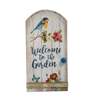 WOOD BIRD AND FLOWER WALL DÉCOR  WELCOME TO THE GARDEN, 18.5""