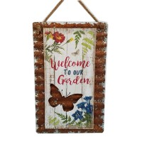 METAL AND WOOD LAYER WALL DÉCOR  WITH BIRD AND FLOWERS, 15""