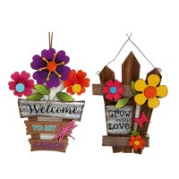 """WOOD AND METAL WALL DÉCOR  WITH FLOWERS,2 ASST, 18.5"""""""