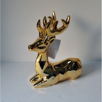 CHRISTMAS DEER  LAYING, CERAMIC,  GOLD, 9-1/4""