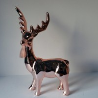 CHRISTMAS DEER  LAYING, CERAMIC,  GOLD, 12""