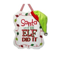 "CHRISTMAS  WOOD WALL DECOR""SANTA THE ELF DID IT"""