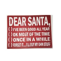 "CHRISTMAS WOOD SIGN ""DEAR SANTA"", 15-1/4"""