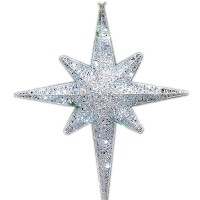 """CHRISTMAS LED LIGHTED 3-D MORAVIAN STAR, 24"""", SILVER"""