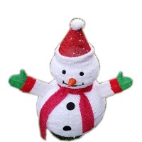 """CHRISTMAS LED LIGHTED FLUFFY SNOWMAN, 32"""", RED"""