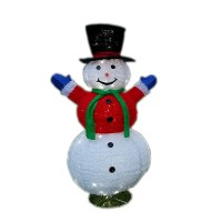 """CHRISTMAS LED LIGHTED FLUFFY SNOWMAN, 60"""", RED"""