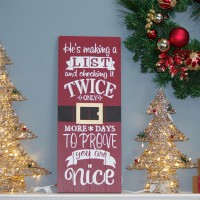 RED WOOD SIGN CHRISTMAS, 23.5""