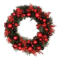 "CHRISTMAS BALL WREATH, 24"", RED"