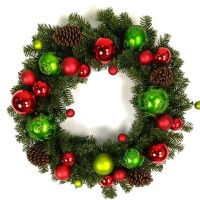 "CHRISTMAS BALL WREATH, 24"", GREEN"