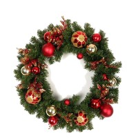 "CHRISTMAS BALL WREATH, 30"", GOLD"