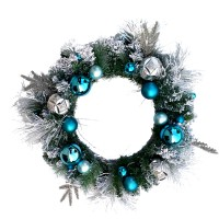 "CHRISTMAS BALL WREATH, 24"", BLUE"