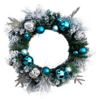 "CHRISTMAS BALL WREATH, 30"", BLUE"