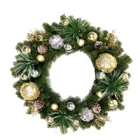 "CHRISTMAS BALL WREATH, 24"", YELLOW"