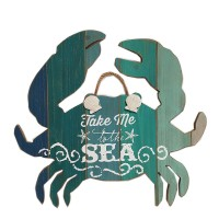 """WOOD CRAB WITH SAYING """"TAKE ME TO THE SEA"""" WALL DÉCOR 18.5"""""""