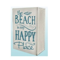 """THE BEACH IS HAPPY PLACE WOOD BLOCK, 9.5"""""""