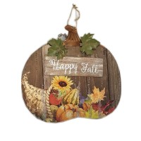 WOOD PUMPKIN SIGN DÉCOR, 13-1/4""