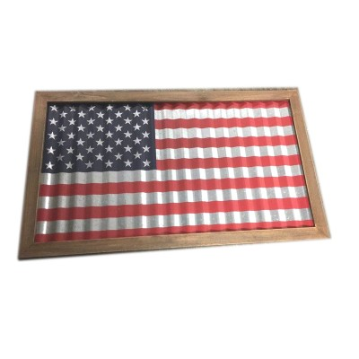 Metal America Flag with  wood frame , 32.5""