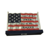 Patriotic Metal flag taple top, 9-3/4""