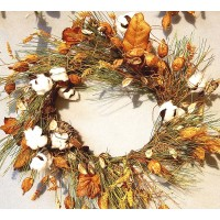 HARVEST COTTON & POD WREATH, 24""