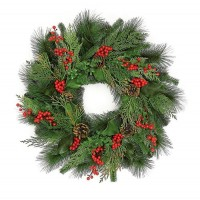ESE CHRISTMAS WREATH WITH BERRY & PINECONE, 24""